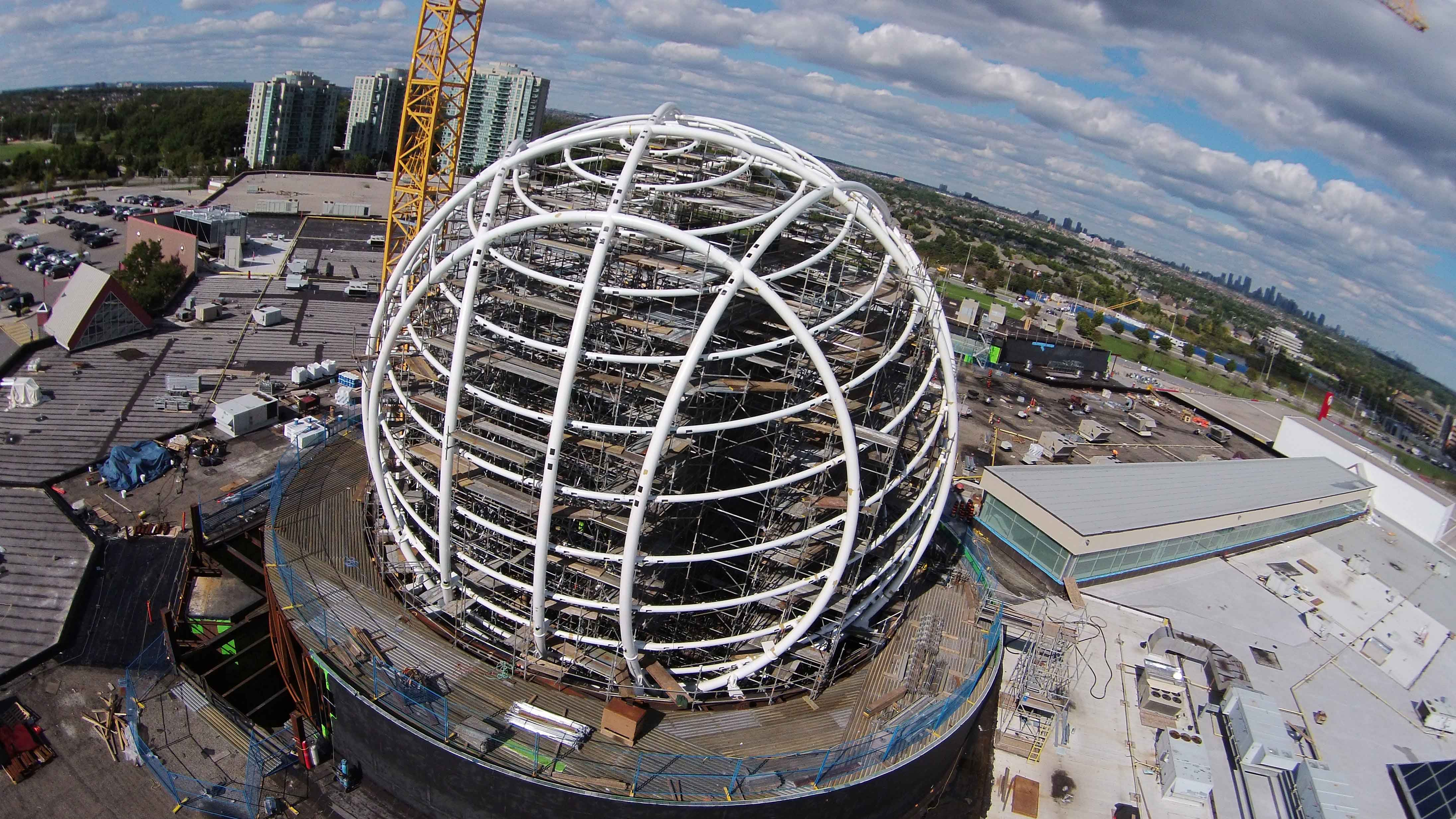 Aerial photo of the new sphere replacing the old clock tower. Photo courtesy of Mike Douglas -@ Mississauga Life